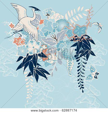 Japanese kimono motif with crane and flowers