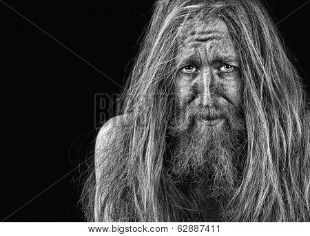 Very Emotional Portrait Of a bearded man On Black
