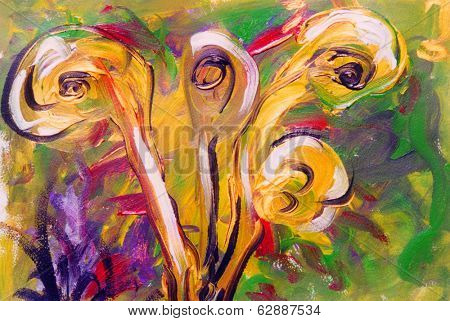 Nice Interesting Floral Abstract painting on paper