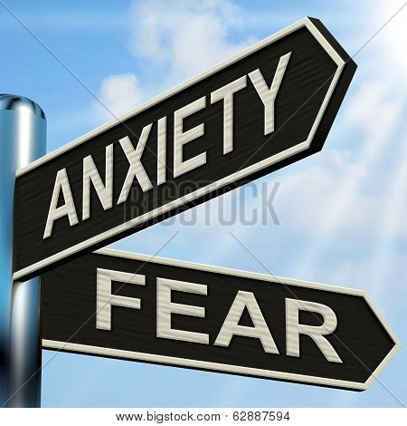 Anxiety And Fear Signpost Means Worried Nervous Or Scared