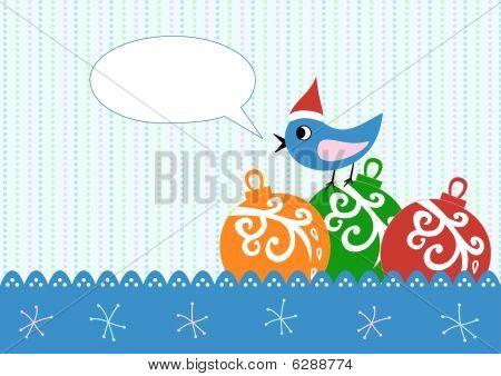 Xmas Greeting Card With Balls And Bird
