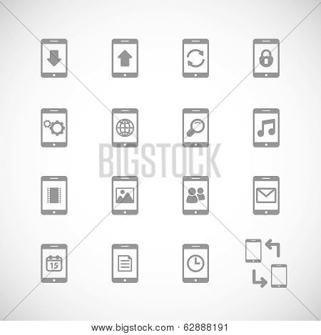 Online mobile applications iconset, contour flat