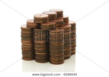 House Made On Pennies With Clipping Path