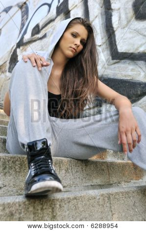 Young Woman In Hip Hop Style Portrait