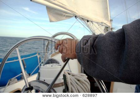 Sailor Driving His Sailboat
