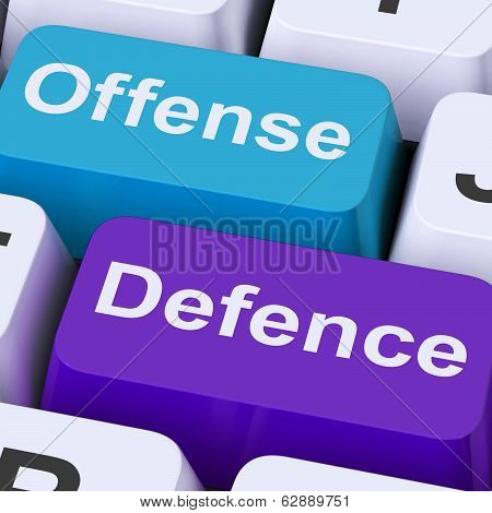 Offense Defence Keys Shows Attack Or Defend