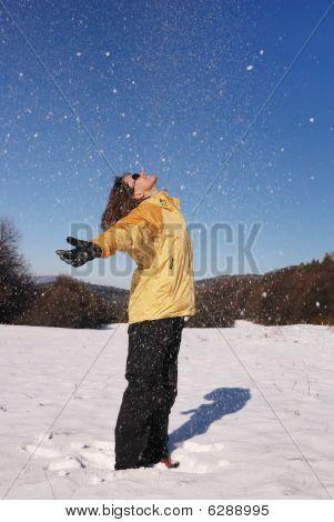 Woman Enjoys Winter In Snow