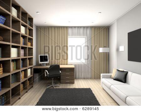 Modern Comfortable Interior. Cabinet.