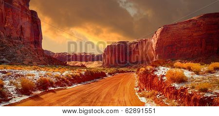 Beautiful Image of the road through monument valley in Winter