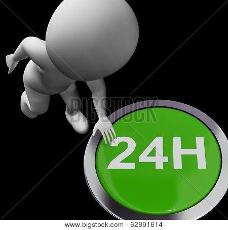 Twenty Four Hours Button Shows Open 24H