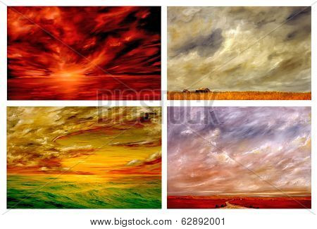 Beautiful Collection Of Four Landscape paintings to Enjoy