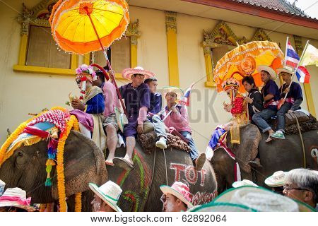 Unidentified people in tradition of the Sri Satchanalai district,Thailand.