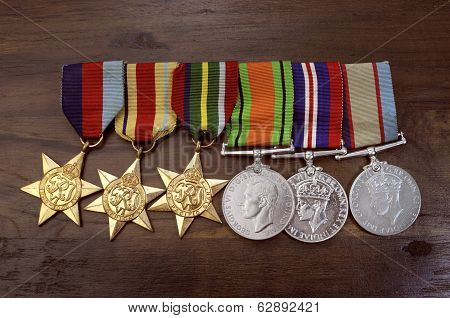 Adelaide, Australia - April 2, 2014: Original Australian Army World War Ii Campaign Medals Including
