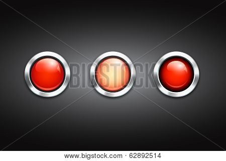 Set of three blank red buttons