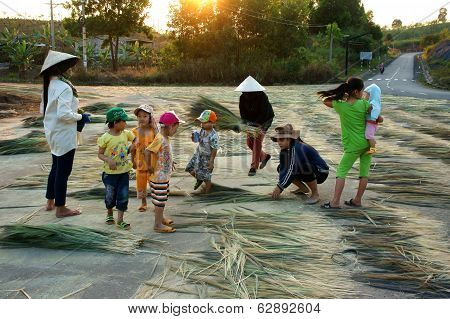 Vietnamese People At Vietnam Countryside