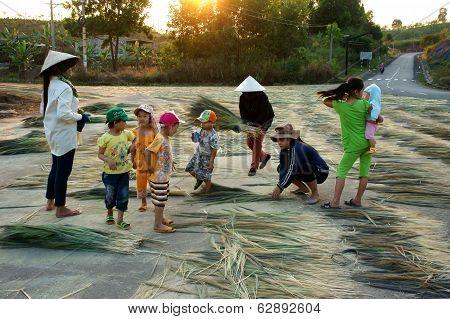 Vietnamese People At Vietnam Countryside