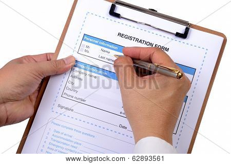 Writing Registration Form.