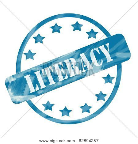 Blue Weathered Literacy Stamp Circle And Stars