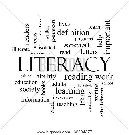 Literacy Word Cloud Concept In Black And White