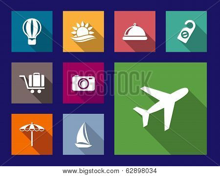 Set of flat travel and vacation icons