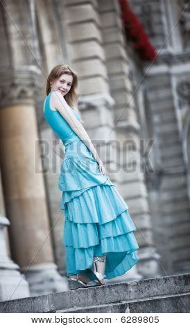 Young Slim Woman In Dress