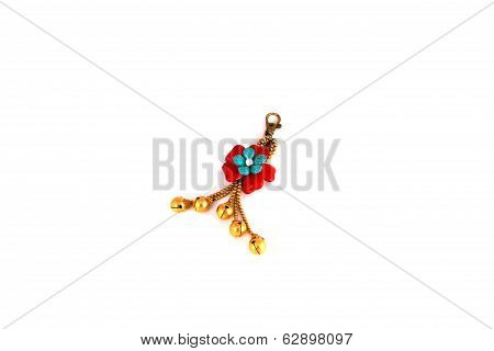 Key Chain Red Flowers With Golden Bell