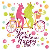 picture of tandem bicycle  - You make me happy - JPG