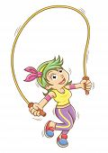 picture of skipping rope  - girl playing with a skipping rope - JPG