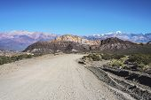 stock photo of mendocino  - Provincial Road 52 passing by the Department of Las Heras in Mendoza Argentina - JPG