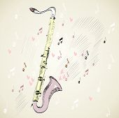 image of clarinet  - drawn illustration of a musical instrument clarinet - JPG