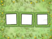 Grunge Paper Frames With Flowers Pumpkins On The Abstract Stars Background
