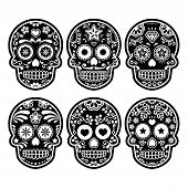 image of sugar skulls  - Vector icon set of decorated skull  - JPG