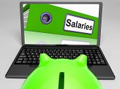 picture of payroll  - Salaries Laptop Meaning Payroll And Income On Internet - JPG