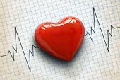stock photo of ecg chart  - Cardiogram pulse trace and heart concept for cardiovascular medical exam - JPG