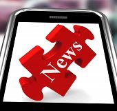 News Smartphone Means Web Headlines Or Bulletin