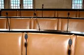 Empty council chamber seats