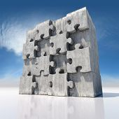 image of cell block  - Blank big jigsaw puzzle made of concrete parts - JPG