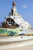 BARSELONA, SPAIN - AUGUST 25: Ceramic mosaic in Park Guell Barcelona on august 25, 2012 in Spain