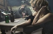 stock photo of gunshot  - Sexy woman seduce a soldier - JPG