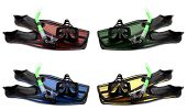 Set Of Multicolored Flippers, Mask And Snorkel With Water Drops