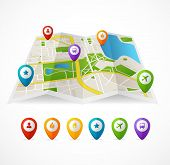 picture of gps navigation  - Vector city map with GPS Icons illustration - JPG