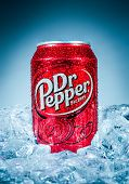 MOSCOW, RUSSIA-APRIL 4, 2014: Can of Dr Pepper soft drink on ice. Dr Pepper is a soft drink marketed