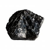 stock photo of obsidian  - The Mineral Obsidian on a white background - JPG