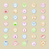 picture of emoticons  - Large collection of round smiley icons or emoticons showing a wide variety of different expressions in thirty - JPG