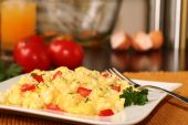 image of scrambled eggs  - Fluffy scrambled eggs with tomatoes and juice - JPG