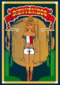 Image of vintage style mexican poster with a beautiful mexican girl.