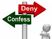 picture of denied  - Confess Deny Signpost Showing Confessing Or Denying Guilt Innocence - JPG