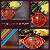 picture of mexican fiesta  - Happy Cinco de Mayo 5th May party table celebration collage with Mexican colors food background and sample text - JPG