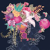 stock photo of motif  - Japan style decorative kimono floral motif vector illustration - JPG