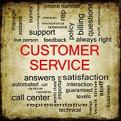 image of rep  - Customer Service Grunge Word Cloud Concept with great terms such as call center help staff rep and more - JPG